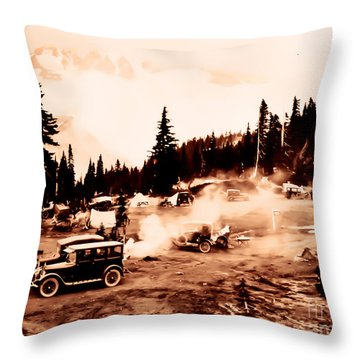 Vintage Mount Rainier Cars And Camp Grounds Early 1900 Era... Throw Pillow