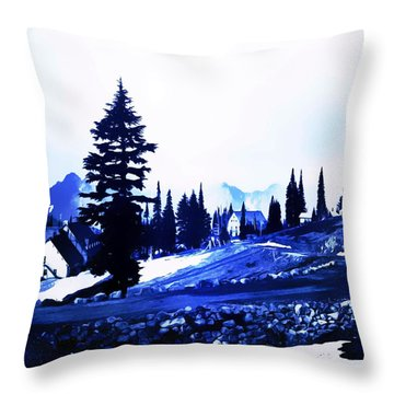 Vintage Mount Rainier Lodge Early 1900 Era... Throw Pillow by Eddie Eastwood