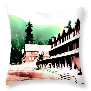 Vintage Mount Rainier National Park Inn Early 1900 Era... Throw Pillow
