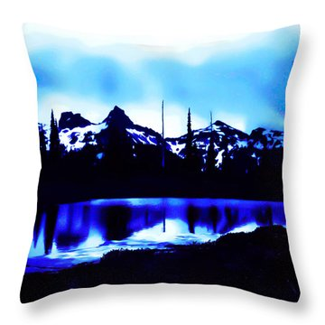 Vintage Mount Rainier With Longmire Springs In The Foreground Early 1900 Era... Throw Pillow