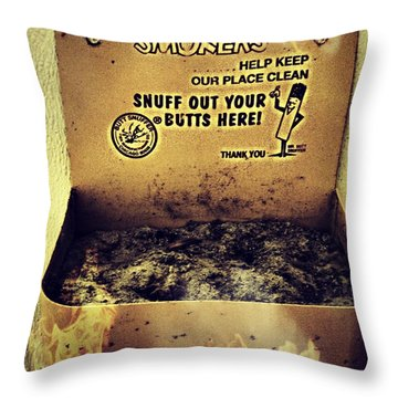 Vintage Mr. Butt Snuffer Ashtray Throw Pillow by Peggy Franz