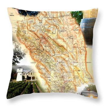 Vintage Napa Valley Map Throw Pillow