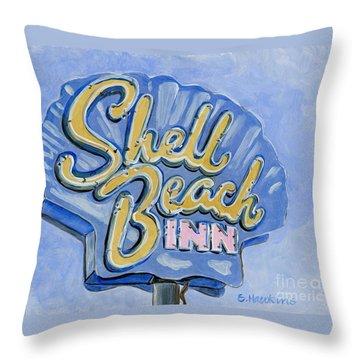 Vintage Neon- Shell Beach Inn Throw Pillow by Sheryl Heatherly Hawkins
