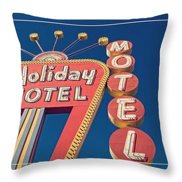 Vintage Neon Signs Trio Throw Pillow by Edward Fielding
