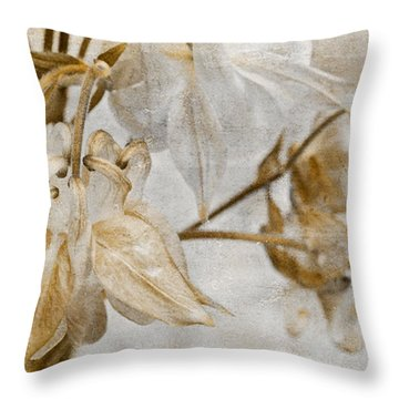 Throw Pillow featuring the photograph Vintage Neutral Flowers by Peggy Collins