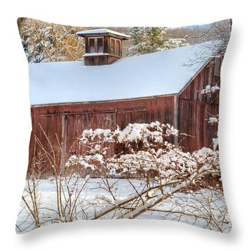 Vintage New England Barn Throw Pillow by Bill Wakeley