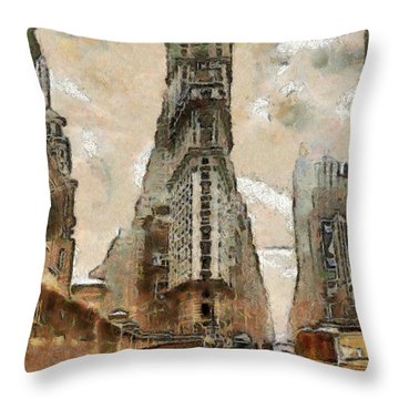 Throw Pillow featuring the painting Vintage New York by Georgi Dimitrov