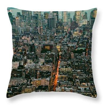 Vintage New York Skyline Throw Pillow
