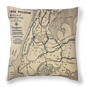 Vintage Newspaper Map Throw Pillow