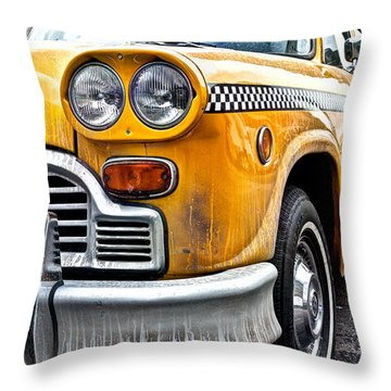 Vintage Nyc Taxi Throw Pillow