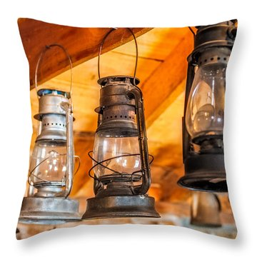 Vintage Oil Lanterns Throw Pillow by Paul Freidlund