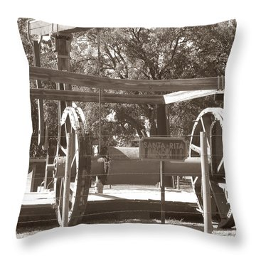 Vintage Oil Rig Santa Rita No. 1 Throw Pillow