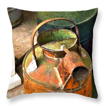 Throw Pillow featuring the photograph Vintage Orange And Green Galvanized Containers by Lesa Fine