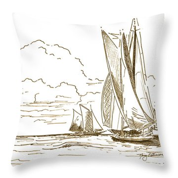 Vintage Oyster Schooners  Throw Pillow by Nancy Patterson
