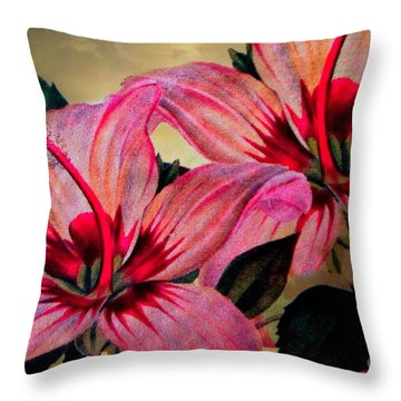 Vintage Painted Pink Lily Throw Pillow by Judy Palkimas