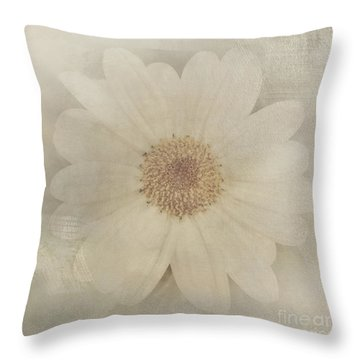 Vintage Painterly White Daisy  Throw Pillow