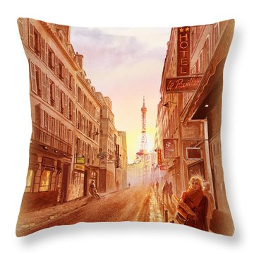 Throw Pillow featuring the painting Vintage Paris Street Eiffel Tower View by Irina Sztukowski
