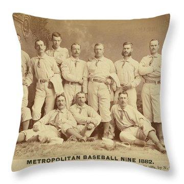 Vintage Photo Of Metropolitan Baseball Nine Team In 1882 Throw Pillow