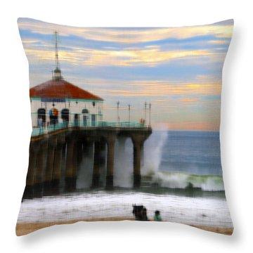 Vintage Pier Throw Pillow by Joe Schofield