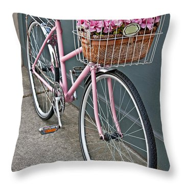 Vintage Pink Bicycle With Pink Flowers Art Prints Throw Pillow