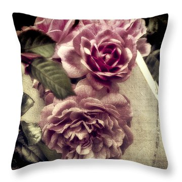Vintage Pink Sisters Throw Pillow by Karen Lewis