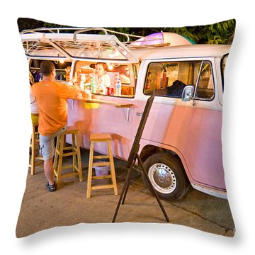 Vintage Pink Volkswagen Bus Throw Pillow by Luciano Mortula