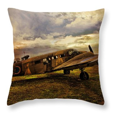 Vintage Plane Throw Pillow by Evie Carrier