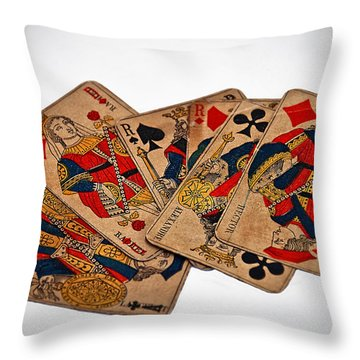 Vintage Playing Cards Art Prints Throw Pillow by Valerie Garner
