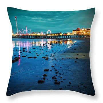 Vintage Pleasure Pier - Gulf Coast Galveston Texas Throw Pillow