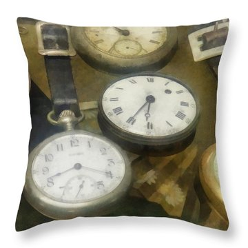 Vintage Pocket Watches Throw Pillow by Susan Savad