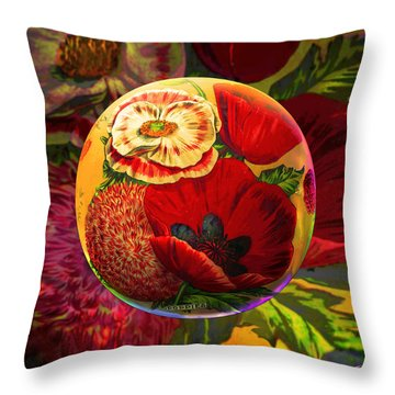 Vintage Poppy Sphere Throw Pillow