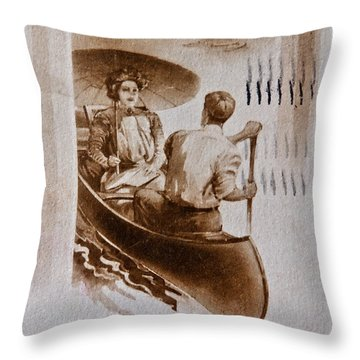 Vintage Post Card Of Couple In Boat Art Prints Throw Pillow