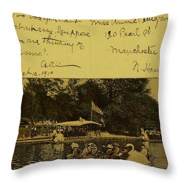 Vintage Postcard  October 10 1910 Throw Pillow