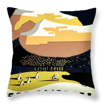 Vintage Poster - Montana Throw Pillow by Benjamin Yeager