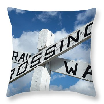Vintage Railway Crossing Sign Throw Pillow