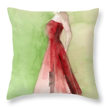 Vintage Red Cocktail Dress Fashion Illustration Art Print Throw Pillow