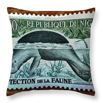 Vintage Republic Of Niger Stamp Throw Pillow