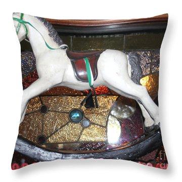 Vintage Rocking Horse Throw Pillow