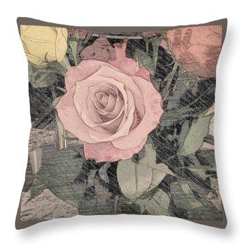 Vintage Romance Rose Throw Pillow