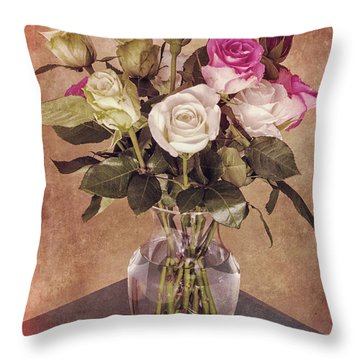 Vintage Roses Throw Pillow