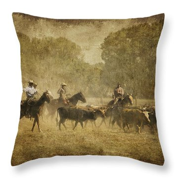 Vintage Roundup Throw Pillow by Priscilla Burgers
