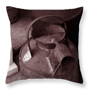 Throw Pillow featuring the photograph Vintage Sepia Galvanized Container by Lesa Fine