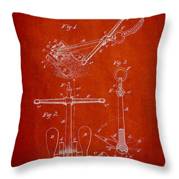 Vintage Ship Anchor Patent From 1892 Throw Pillow by Aged Pixel