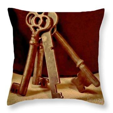 Vintage Skeleton Keys I Throw Pillow
