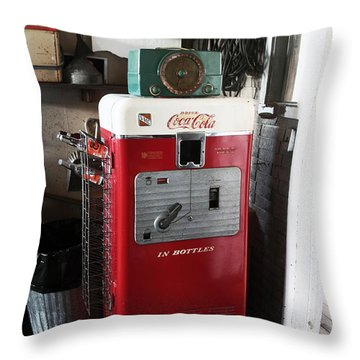 Vintage Soda Machine Throw Pillow by John Rizzuto