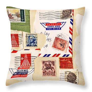 Throw Pillow featuring the photograph Vintage Stamps On Old Postcard by Vizual Studio