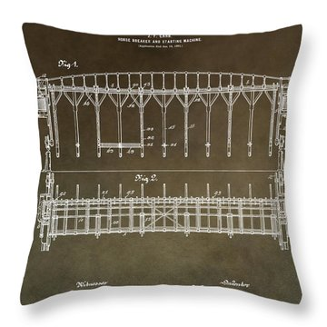Vintage Starting Gate Patent Throw Pillow
