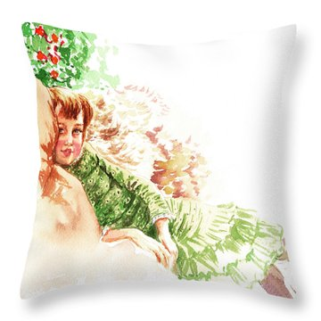 Throw Pillow featuring the painting Vintage Study Lilian Of James Tissot by Irina Sztukowski