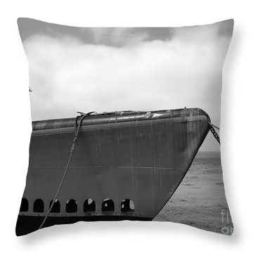 Throw Pillow featuring the photograph Vintage Submarine Uss Pampanito B W  by Connie Fox