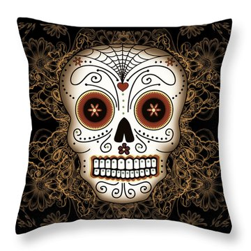 Vintage Sugar Skull Throw Pillow by Tammy Wetzel
